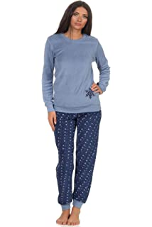 Damen Frottee Pyjama Rundals Hose in Ringel-Optik Bündchen 59893