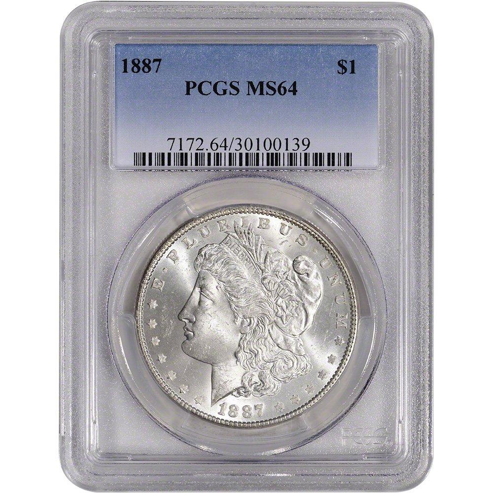 1887 US Morgan Silver Dollar $1 MS64 PCGS