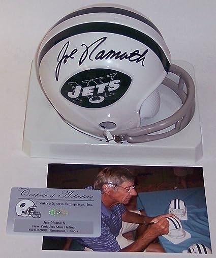 926aa4935 Joe Namath Autographed Hand Signed NY New York Jets 2-Bar Throwback Mini Football  Helmet