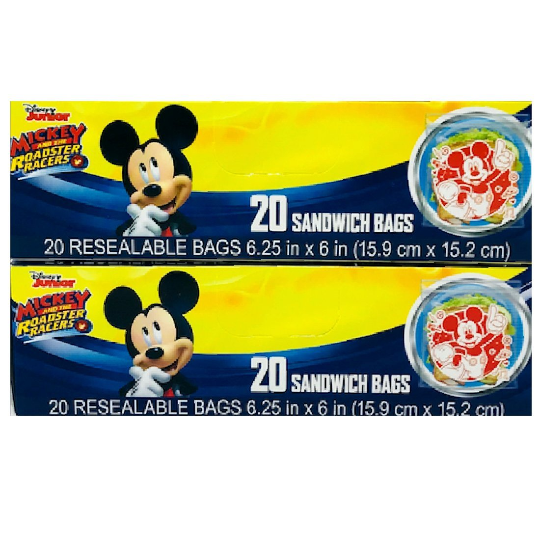 Mickey Mouse 40 Sandwich Bags 2 Boxes GB