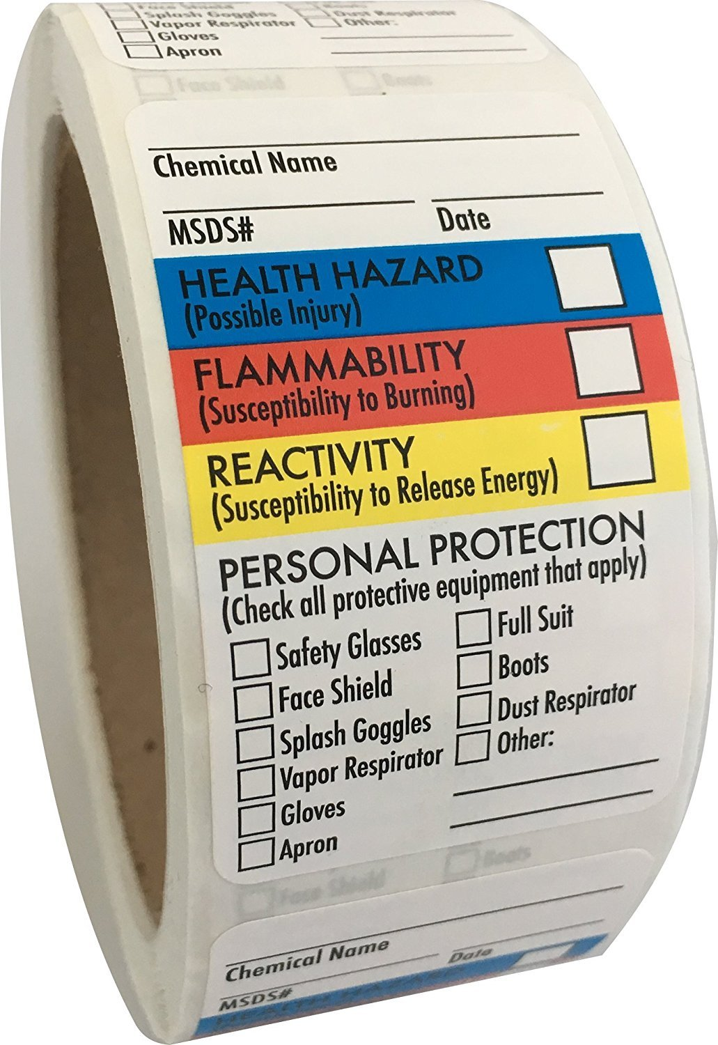 "2 Rolls of SDS Stickers/MSDS Stickers, 250 l Labels Per Roll, 1.5""x2.5"", Right to Know - Chemical Identifying and Marking"