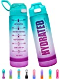 Fidus 32oz Motivational Water Bottle with Time Marker & Chug Lid, Leakproof BPA Free Tritan Wide Mouth, Ensure You Drink…