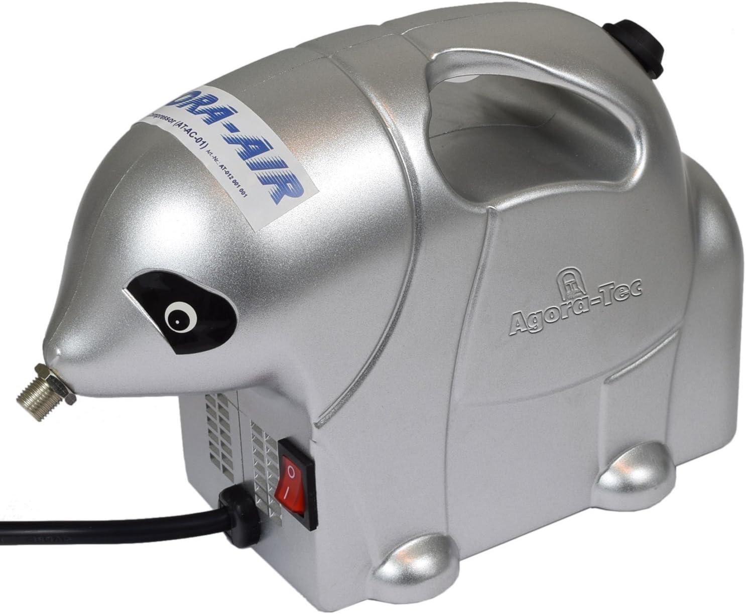 Agora-Tec/® AT- Airbrush Compressor AT-AC-01 Kompressor f/ür Airbrushanwendungen im Elefanten-Style mit 2,8 bar und 13l//min inkl Pistolenhalterung