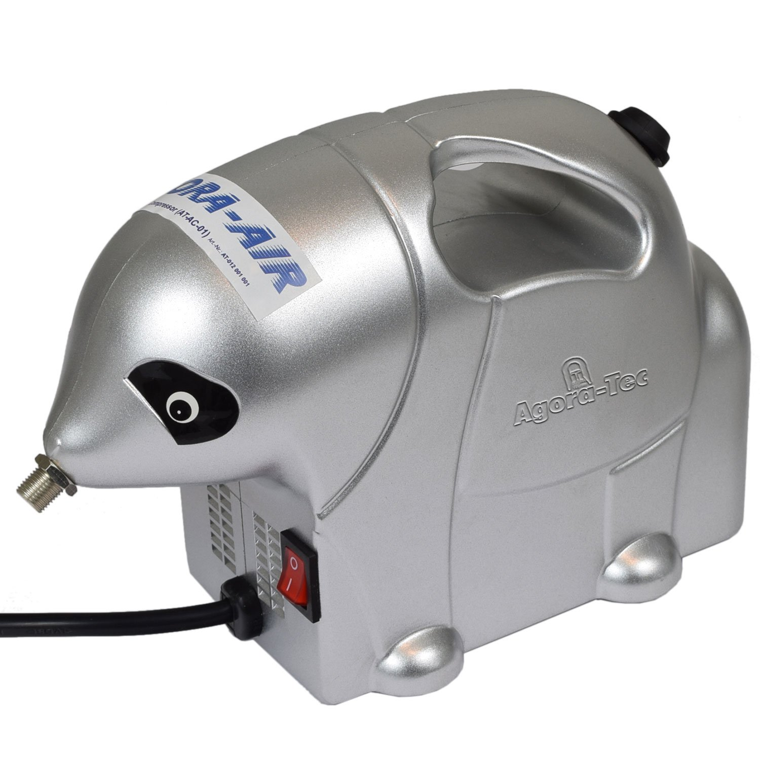 Agora-Tec ® de AC at-Airbrush Compressor at 01, compresseur pour aérographe applications de style éléphant avec 2,8 bar et 13L/min, avec pistolenhalterung compresseur pour aérographe applications de style éléphant avec 2