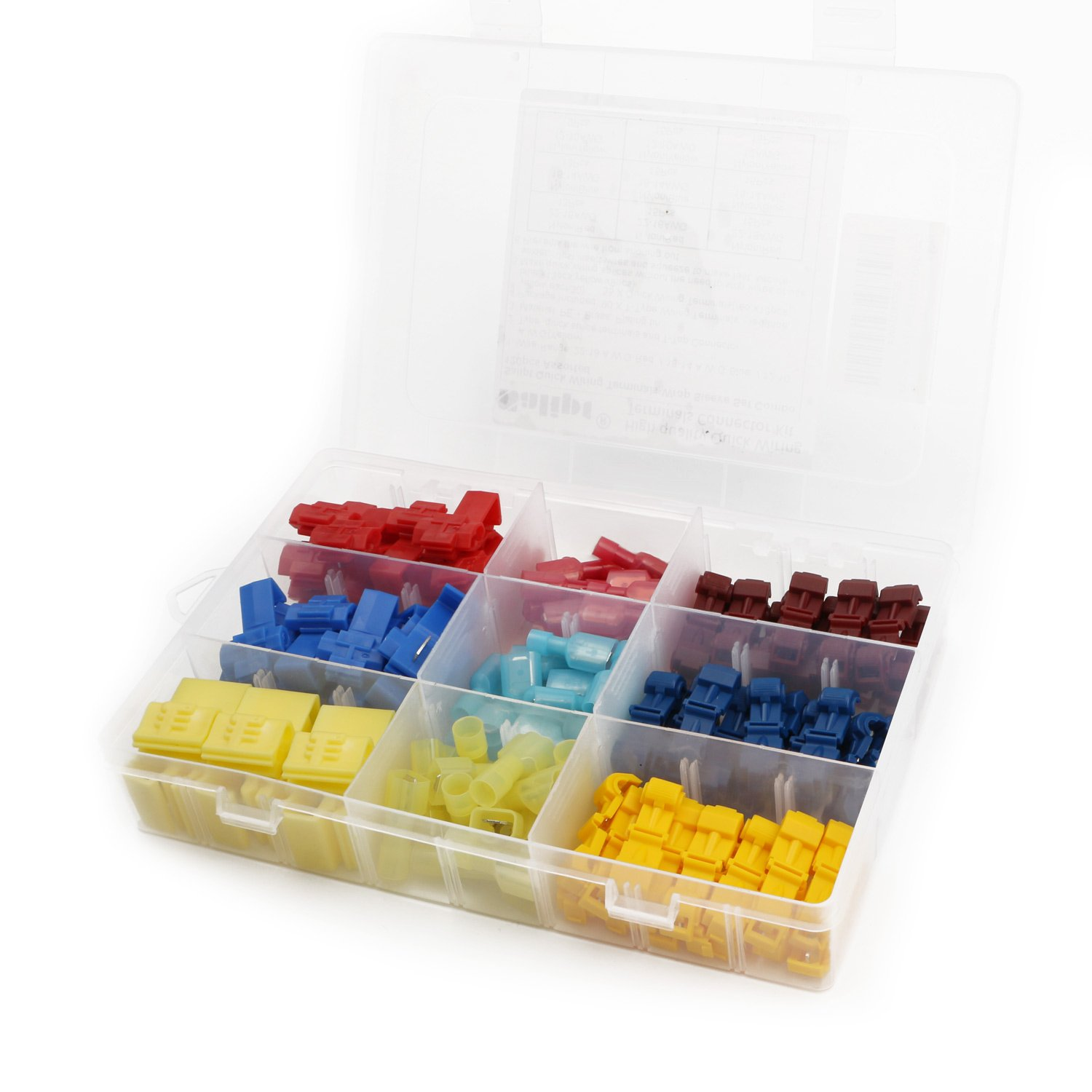 B0773DJXW4 Salipt Quick Splice Solderless Terminals and T-Tap Electrical Connector Assortment Kit 120pcs with Case 718IXL7G24L