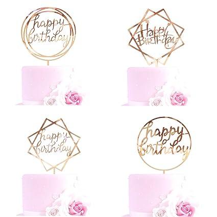 Decoración para tarta de cumpleaños, acrílico de oro rosa ...