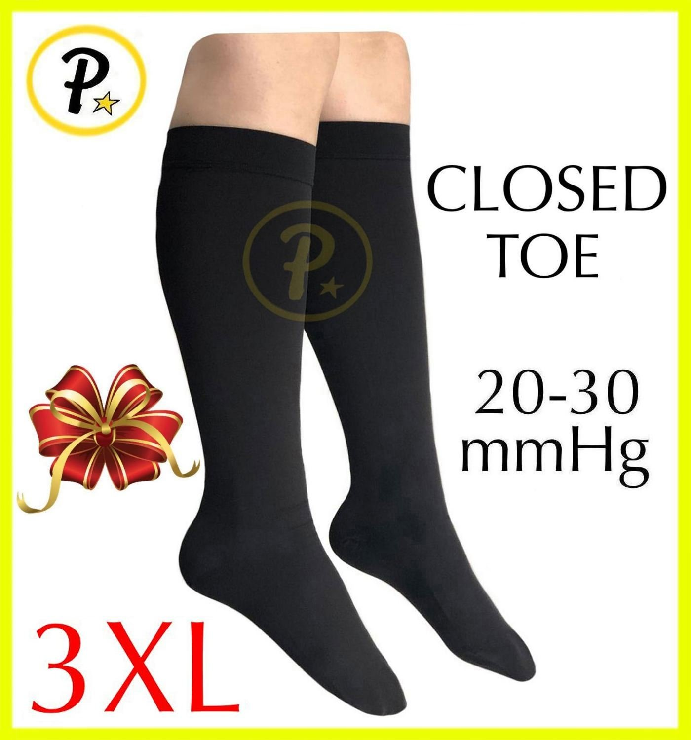 Presadee Closed Toe (BIG & TALL SUPER SIZE) Traditional 20-30 mmHg Compression Grade Swelling Veins Ankle Calf Leg Sock Support (3XL, Black) by Presadee