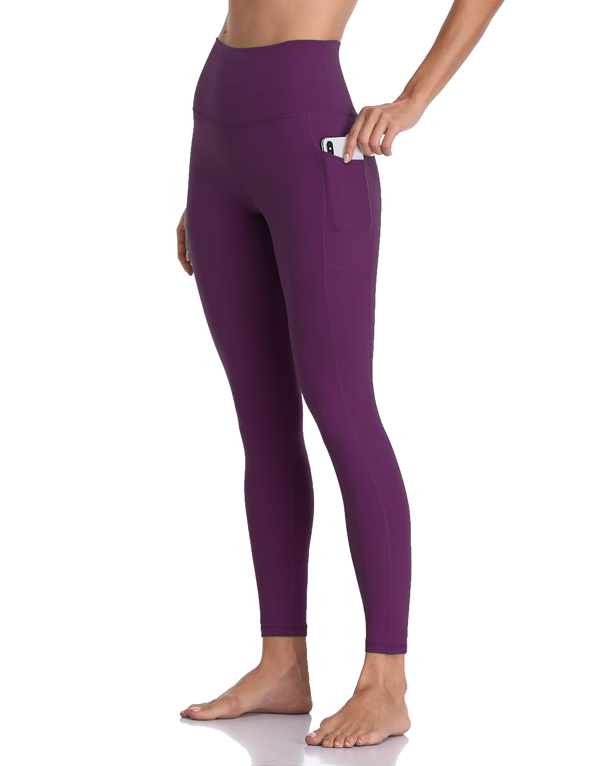 Colorfulkoala Women's High Waisted Yoga Pants 7/8 Length Leggings with Pockets (L, Deep Violet) by Colorfulkoala