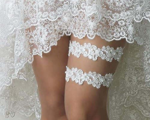 Wedding Garter Lace Wedding Garter Set bridal garter set pearl and rhinestone garter set vintage rhinestones Style AZ2020