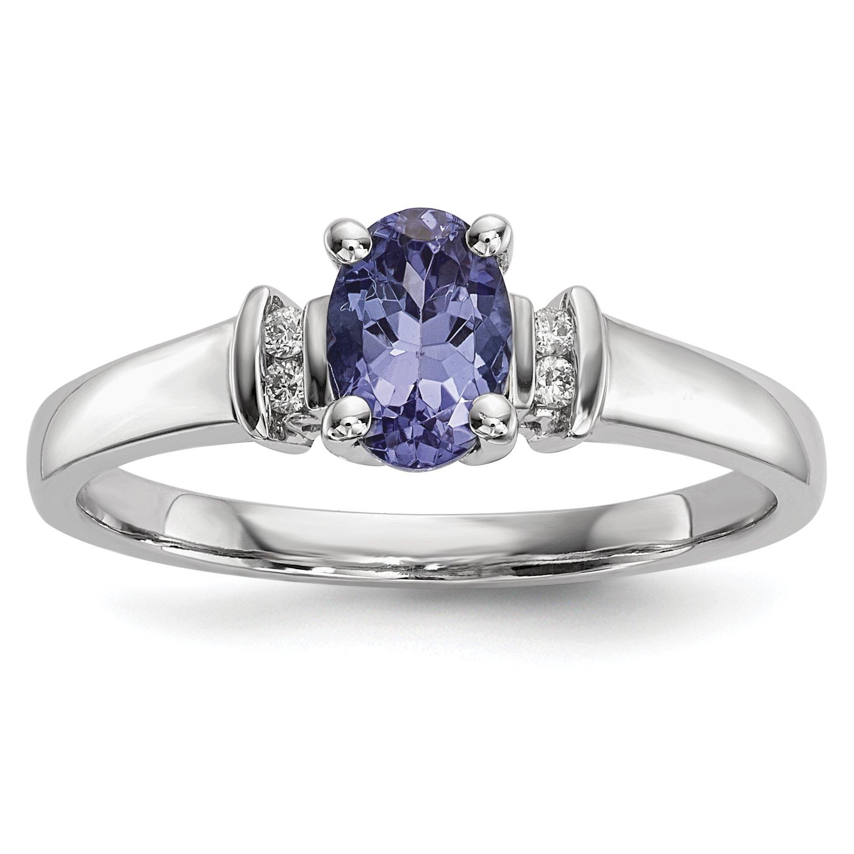 ICE CARATS 14k White Gold Blue Tanzanite Diamond Band Ring Size 7.00 Gemstone Fine Jewelry Gift Set For Women Heart