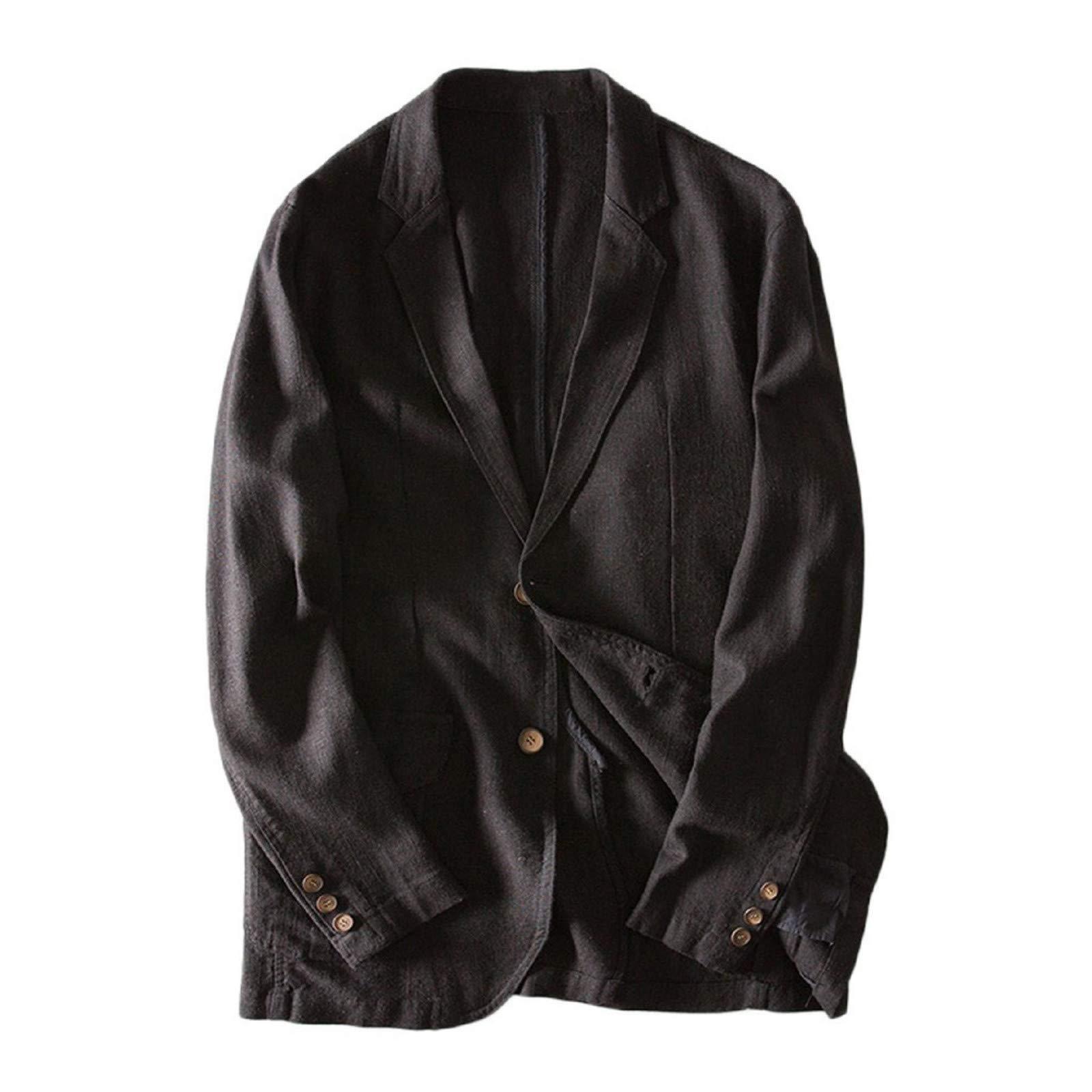 Long Sleeve Suits Blazer,Men Slim Fit Linen Blend Pocket Lightweight Solid Long Sleeve Suits Coat Blazer Jacket