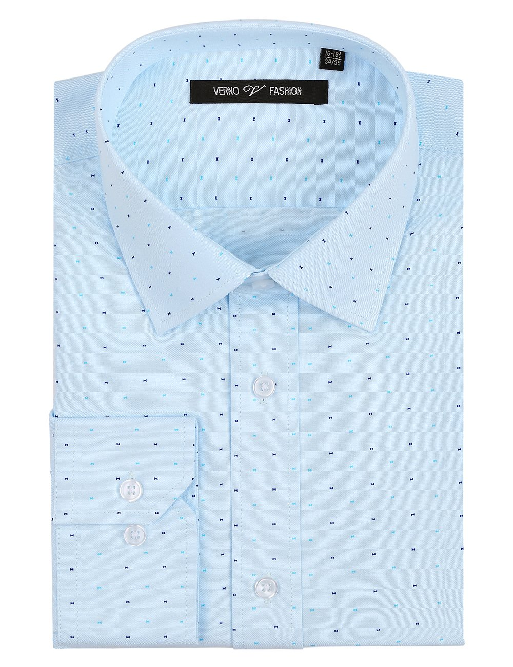 Verno Fashion Men's Printed Bow Tie Classic Fit Long Sleeve Dress Shirt- Available in More Colors (17-17 1/2-34/35, Light Blue)