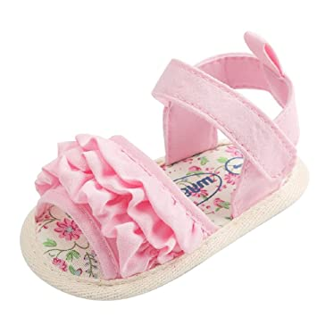 20a173cfa50c5 Amazon.com: Baby Girls Flower Sandals Shoes Made of Cotton Fabric ...