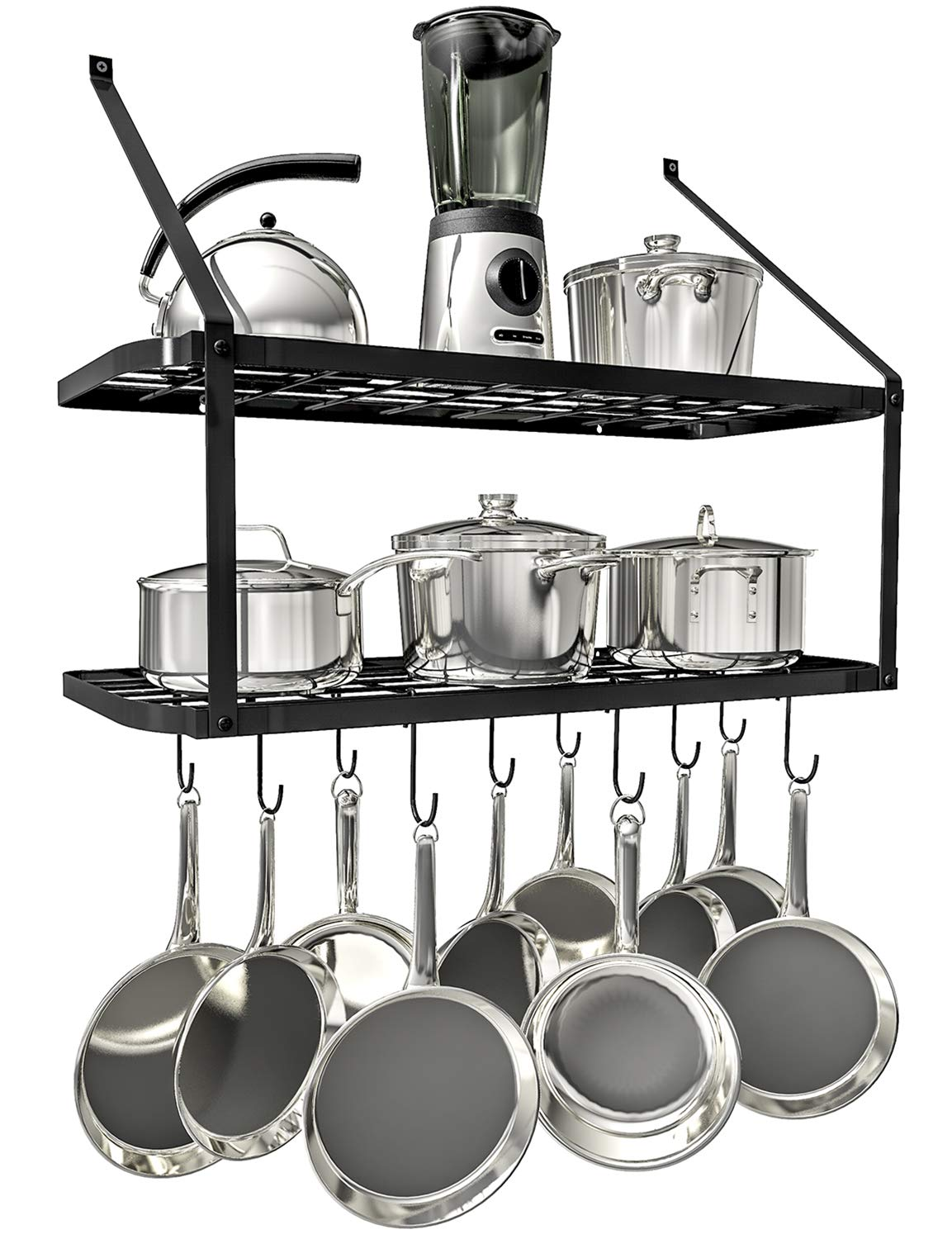 Kitchen Cookware Hanging Organizer with 15 Hooks,29.3 by13-inch Vdomus Square Grid Wall Mount Pot Rack Silver