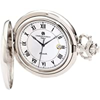 Charles-Hubert, Paris 3925Classic Collection acabado chapado en cromo latón reloj de bolsillo de cuarzo