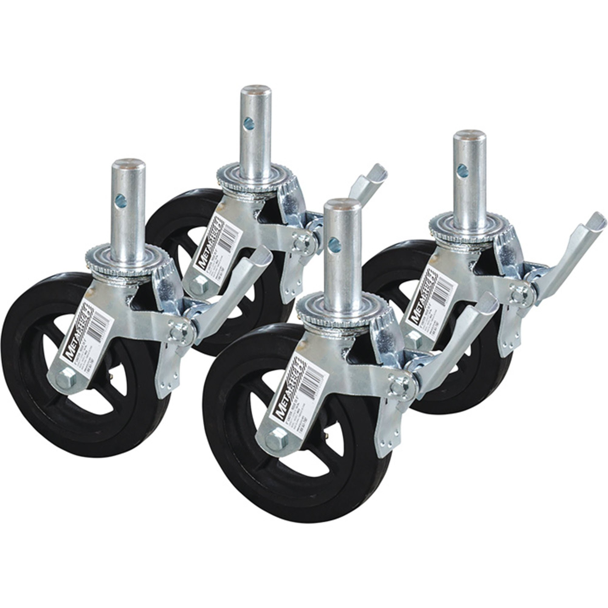 Metaltech Heavy-Duty 8in. Scaffold Caster with Foot Brake 4-Pk., Model# M-MBC8K4