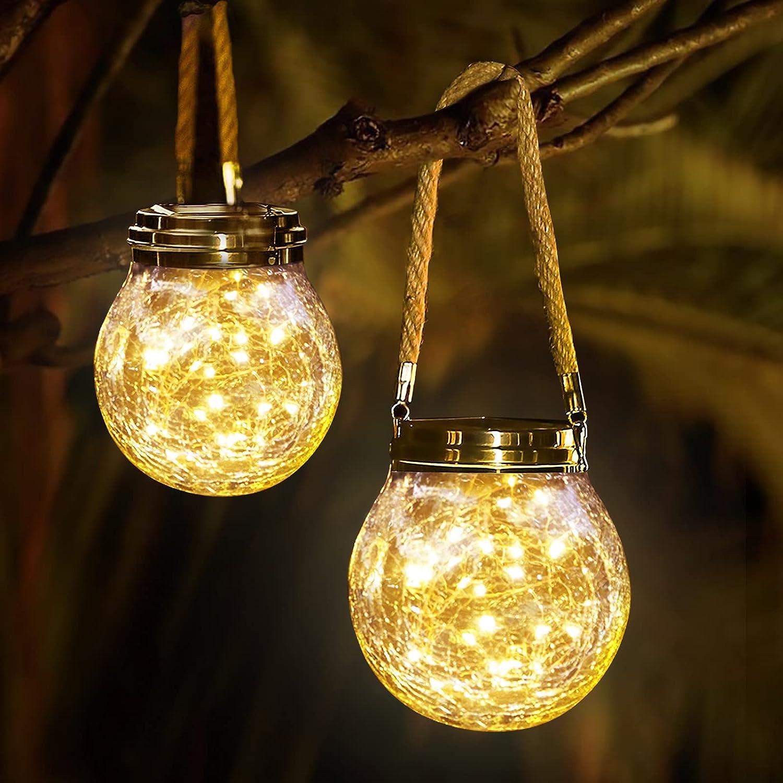 Yiliaw Hanging Solar Lights 2 Pack, 30 LED Outdoor Lanterns Waterproof Solar Garden Lights Cracked Glass Solar Lights Outdoor Decorative Landscape Solar Lanterns,for Garden Yard Patio Lawn Decoration