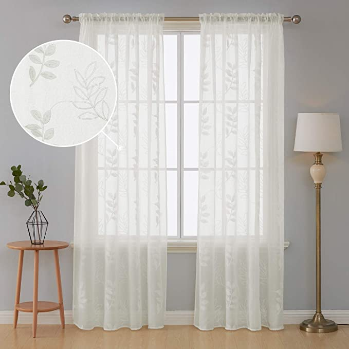 Deconvo Floral Embroidered Semi Sheer Curtains Rod Pocket Sheer Voile Curtains For Living Room 52x95 Inch Light Beige 2 Panels Furniture Decor