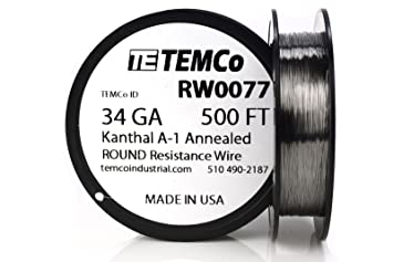 Temco kanthal a1 wire 34 gauge 500 ft resistance awg a 1 ga temco kanthal a1 wire 34 gauge 500 ft resistance awg a 1 ga greentooth Image collections