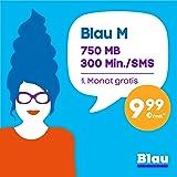Blau M [SIM, Micro-SIM und Nano-SIM] ohne Vertragslaufzeit (300 Frei-Min./Frei-SMS in alle dt. Netze, 750 MB Surfen mit Highspeed-Internet, 9,99 Euro/Monat, 1. Monat gratis + 100MB pro Monat zusätzlich sichern*) o2 Netz
