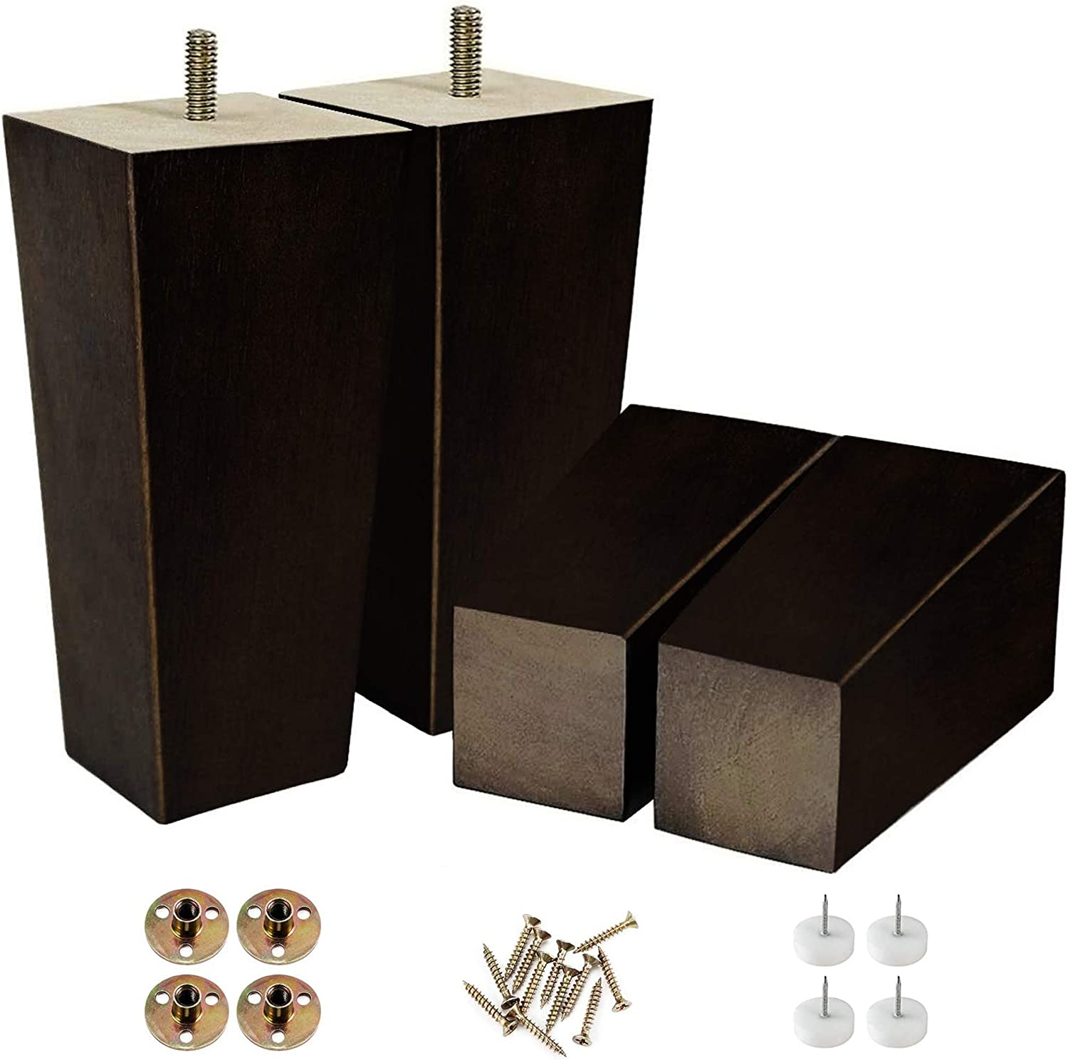 6 Inch Square Furniture Legs Modern Sofa Couch Bed Coffee Chair Desk Table Feet to Stand in Buffet Or Kitchen Fashionable for Century Set 4 with Metal Screw (6 in Square)