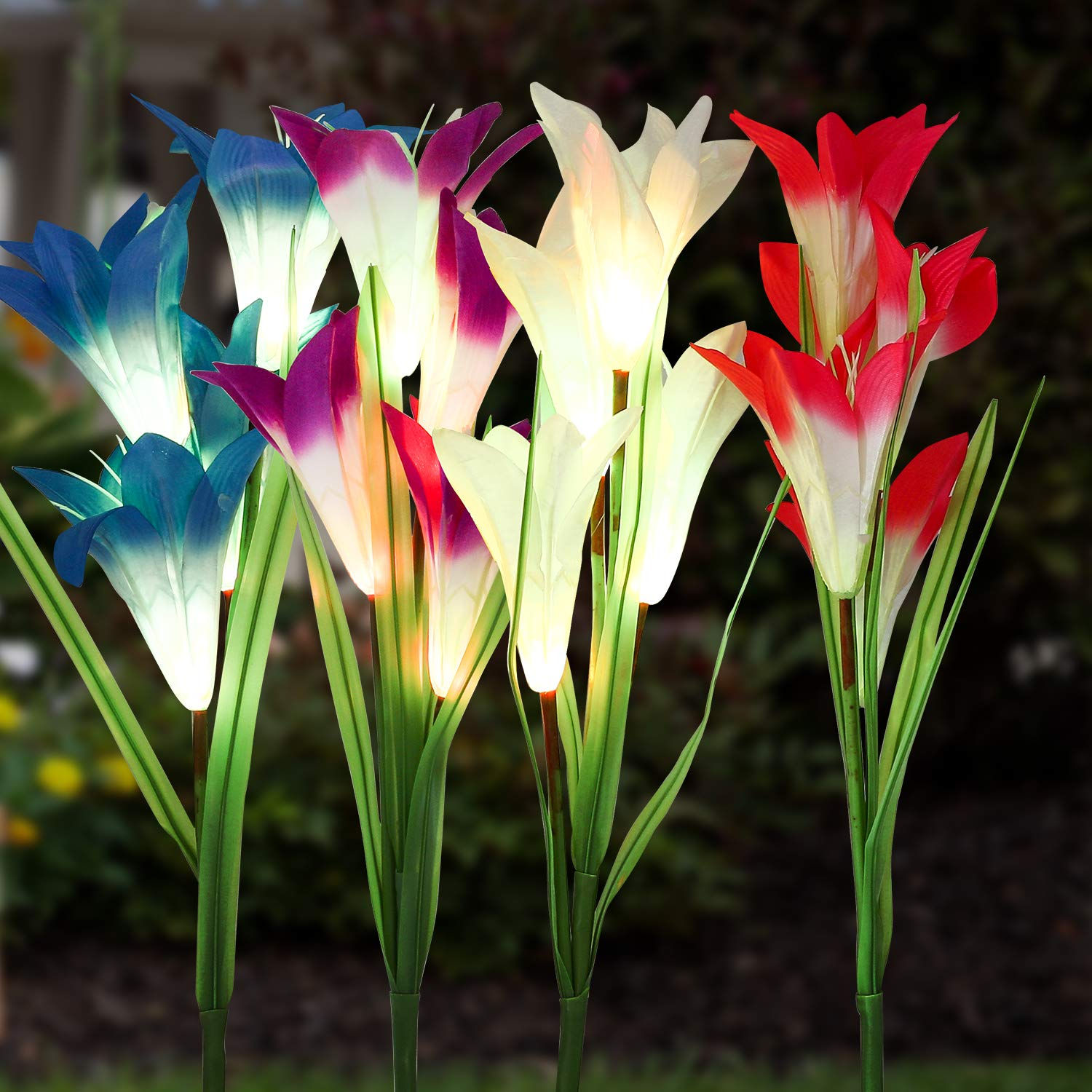 Solar Garden Stake Lights Outdoor, MayBest Solar Powered Lights, Lily Flower Lights, Multi-Color Changing LED Solar Decorative Lights for Garden Patio Yard Lawn Path (White+Purple+Red+Blue)
