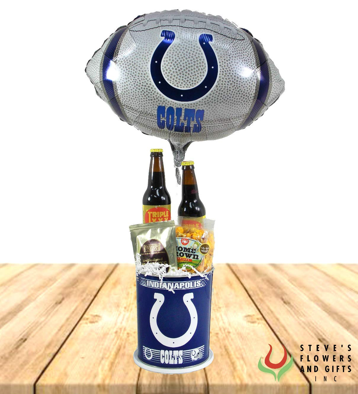 Indianapolis Colts Gourmet Bucket by Steve's Flowers and Gifts - Fresh Flowers Hand Delivered - Indianapolis Area
