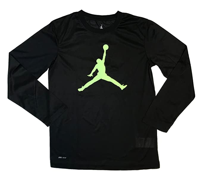 46e7b27f34b Amazon.com: Nike Jordan Youth Boys Jumpman Long Sleeve Shirt Black/Red:  Sports & Outdoors