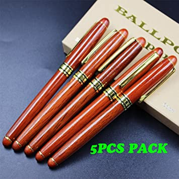 White wood Ballpoint Pen in one Paper Gift Box 5PCS PACK Wooden Eco pen wood pen ballpoint pens with gold accessories