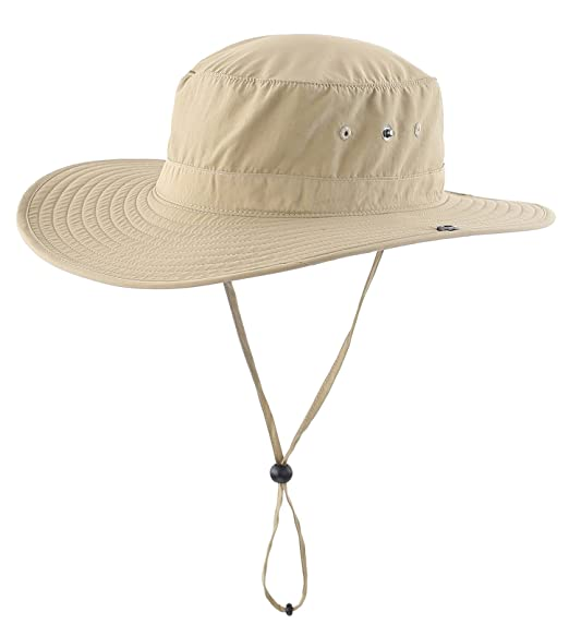 Connectyle Unisex Daily Outdoor Cowboy Sun Hat Wide Brim Bucket Fishing Hats  Summer String Hat Cap 84317c9638b1