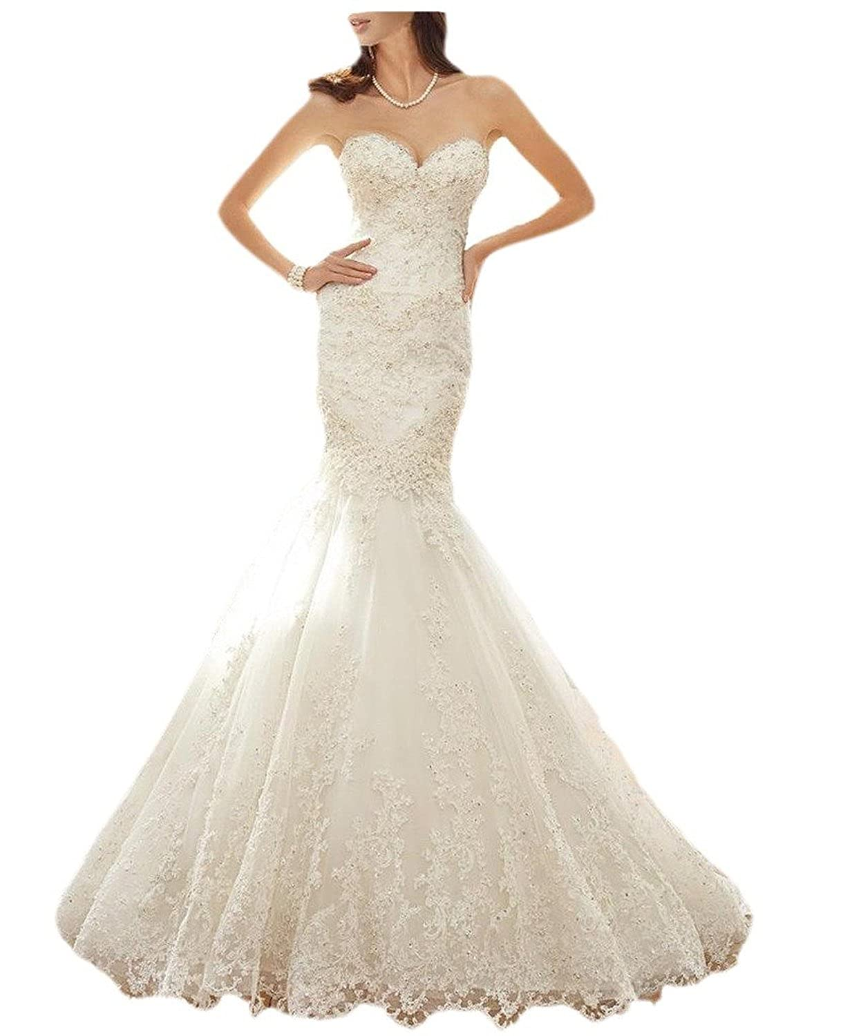 Fanciest Womens 2016 Lace Mermaid Wedding Dresses For Bride Bridal Gowns White: Amazon.co.uk: Clothing