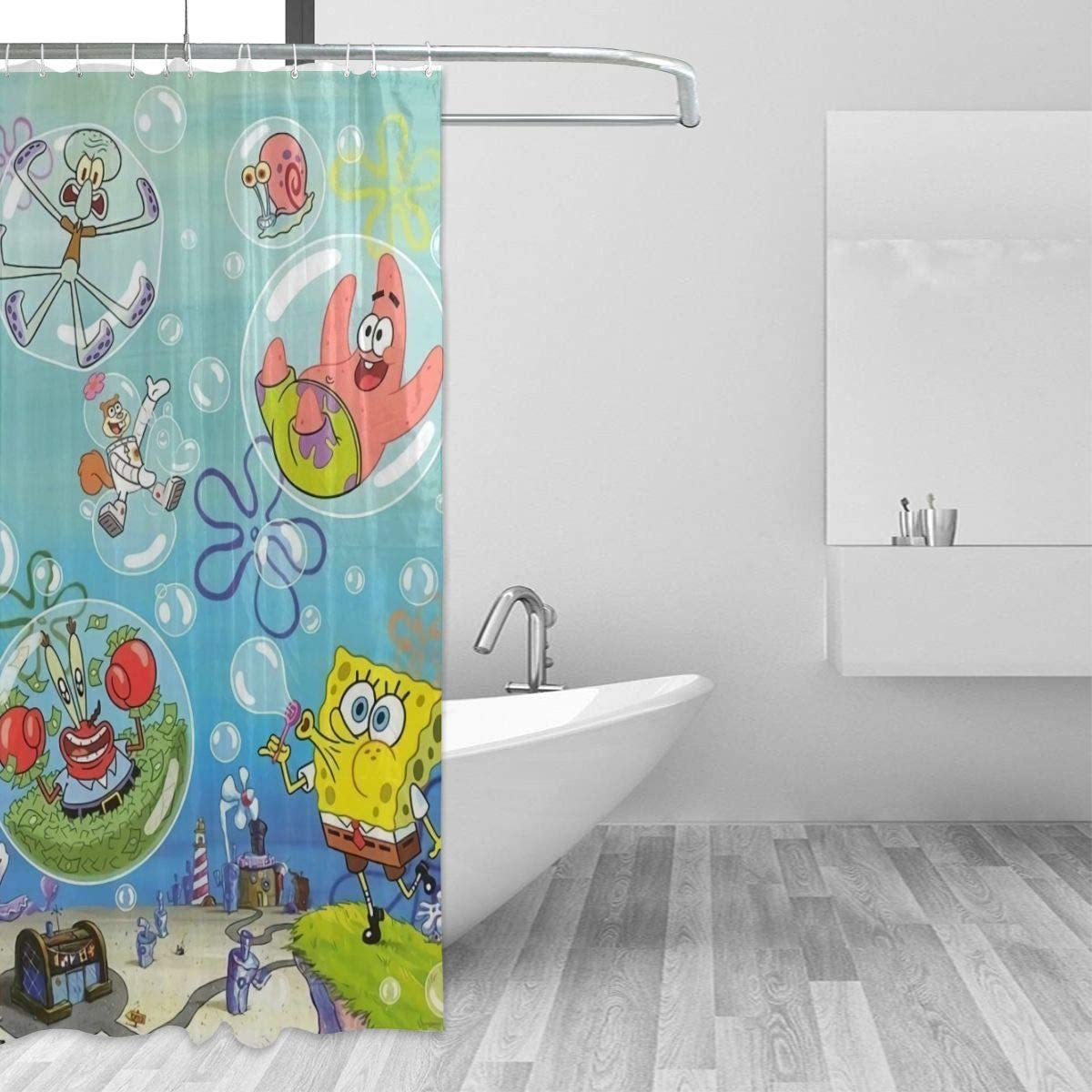 Amazon Com Spongebob Blowing Bubbles With Hook Shower Curtain 36x72 Waterproof Thick Bathroom Plastic Shower Curtains Home Kitchen