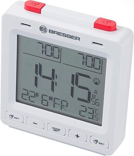 Affichage de la Date et de la Semaine et thermom/ètre int/érieur Bresser Mytime Easy II R/éveil Radio-pilot/é avec Fonction Snooze