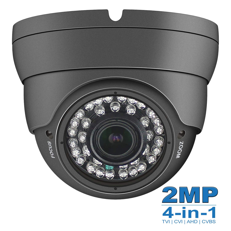 Anpviz 2MP Analog CCTV Camera HD 1080P 4-in-1 (TVI/AHD/CVI/CVBS) Dome Security Camera, 2.8-12mm Varifocal Wide Viewing Angle Weatherproof indoor outdoor Eyeball Camera for Home Video Surveillance Grey by Anpviz