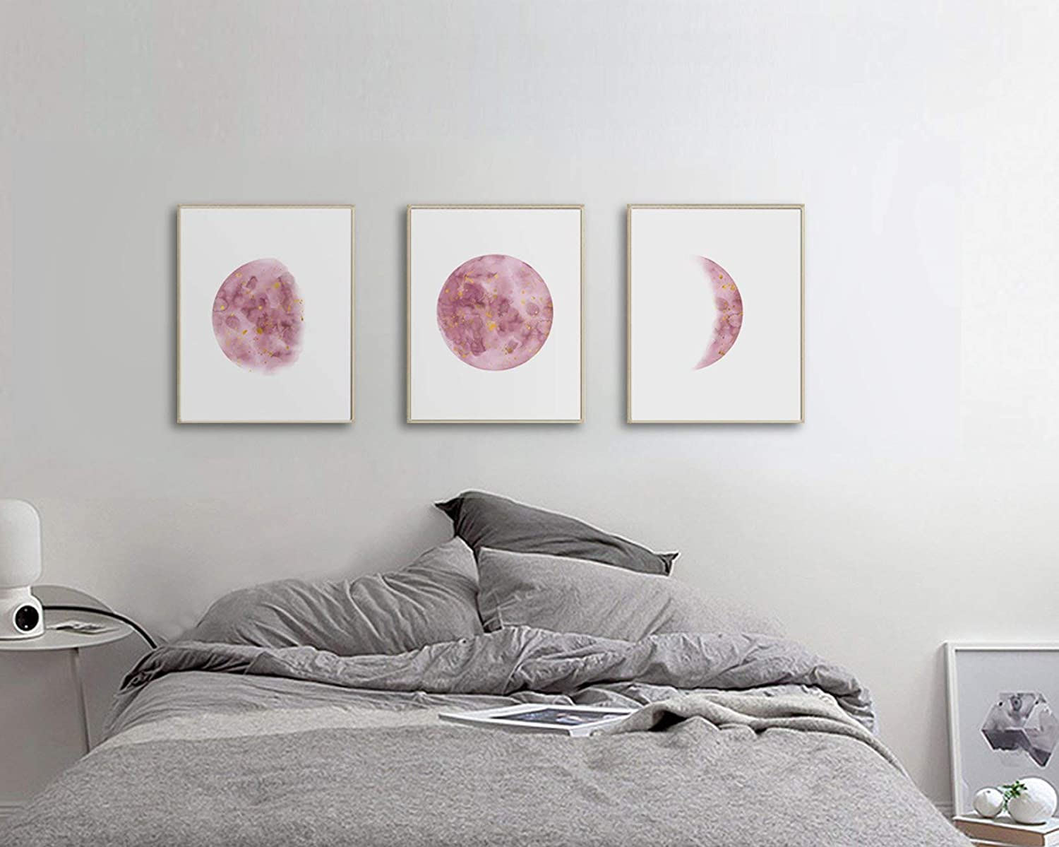 Bedroom Wall Art For Teen Girls, Moon Phases Wall Art Print, Girl Room Wall  Art, Bedroom Wall Art Red, Christmas Gift For Girl, 3 Piece Wall Art Set