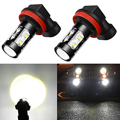 Alla Lighting 50W High Power CREE Super Bright 6000K Xenon White H11 H8 H16 Type 2 LED Bulbs for Fog Light Lamp Replacement: Automotive