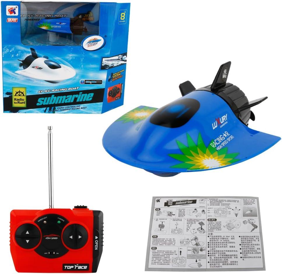 Daxoon Submarino de Control Remoto, Alta Velocidad 4 CH RC Barco Modelo Radio Control Remoto Barco Submarino Eléctrico Juguete Niños Regalo Azul Azul 11 * 8 * 4 cm