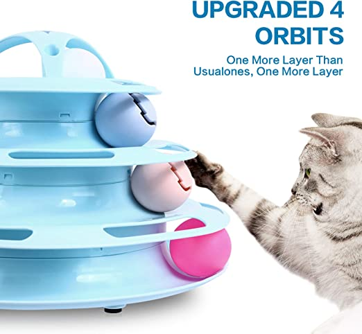 Pecute Cat Roller Toy 4 Layers More Fun with Upgraded Catnip Ball Flashing Ball and Feather Wand Cat Toy Interactive for Cats Detachable Sturdy