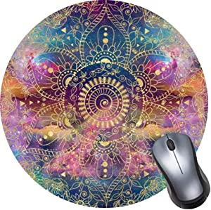 Gaming Computer Mouse Pad with Non-Slip Rubber Base, Premium Round Mousepads-Gold Watercolor and Nebula Mandala