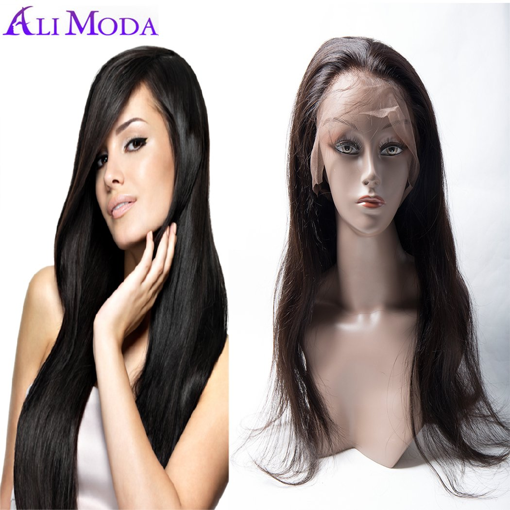 Ali Moda 360 Lace Full Frontal Wig 180% Density Pre-Plucked Brazilian Straight Virgin Human Hair with Baby Hair Natural Hairline 16 inch