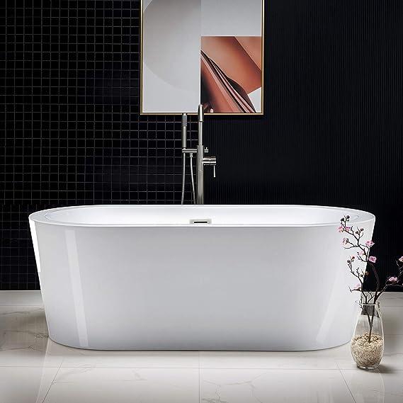 Woodbridge 67 Acrylic Freestanding Bathtub Contemporary Soaking Tub With Brushed Nickel Overflow And Drain Amazon Com