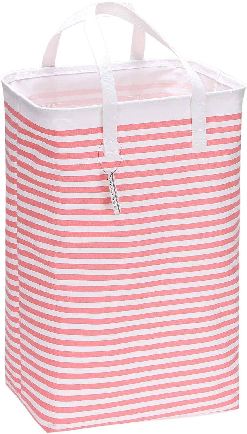 "Sea Team 23.6"" Large Size Canvas Fabric Laundry Hamper Collapsible Rectangular Storage Basket with Waterproof Coating Inner and Handles, Pink & White Stripe"