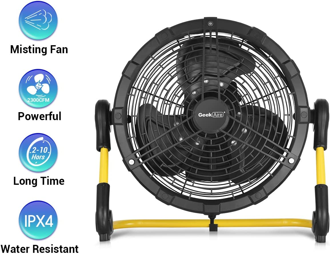 Geek Aire Battery Operated Fan, Rechargeable Outdoor Misting Fan, Portable High Velocity Metal Floor Fan with 15000mAh Detachable Battery & Misting Function, Ideal for Patio, Camping, More - 16 inch
