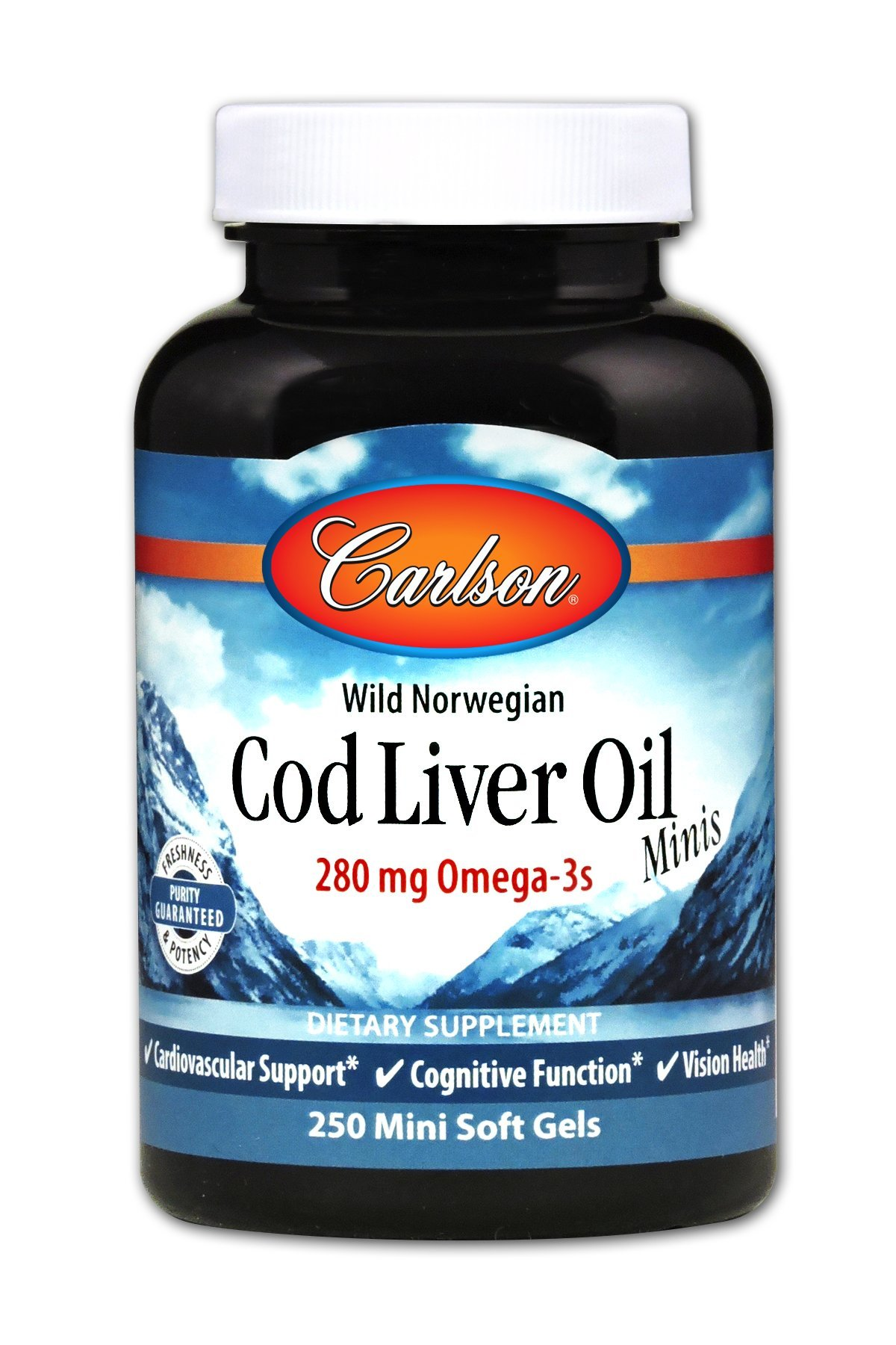 Carlson - Cod Liver Oil Minis, 280 mg Omega-3s + Vitamins A & D3, Heart Support & Cognitive Function, Vision Health, 250 Mini Soft Gels