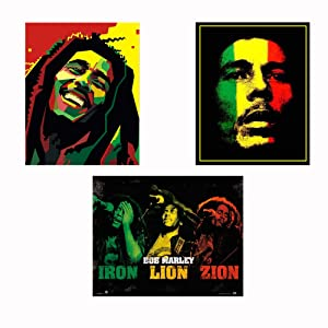 "Bob Marley-Silhouettes Wall Art Set-3 Watercolor Abstract-8 x 10""s Wall Prints-Ready To Frame-Classic Marley Faces Replica Prints. Home-Bar-Dorm-Man Cave Decor. Includes Iron-Lion-Zion Concert Images."