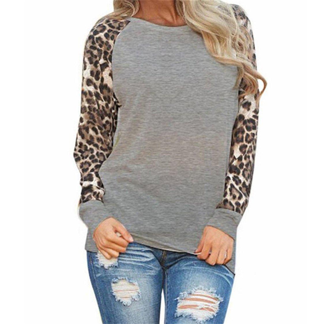 TIFENNY Fashion Womens Long Sleeve T-Shirt, Ladies Plus Size Leopard Blouse Oversize Tops(Gray,M) (XXXXXL, Gray)
