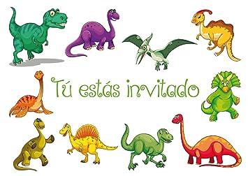 """Edition Colibri 10 Invitaciones en español """"Dinosaurio"""": Juego de 10 Invitaciones para el cumpleaños Infantil / Fiesta (10977 ES)"""