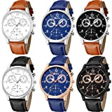 Yunanwa 6 Pack Mens Leather Quartz Watch Geneva Boys Casual Dress Wrist Band Watches Wholesale Lots