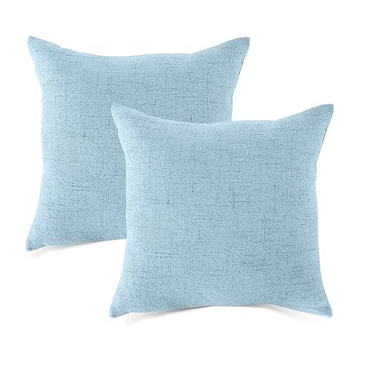 MRNIU Faux Line Cushion Covers Blue 20 X 20 Inch Set 2
