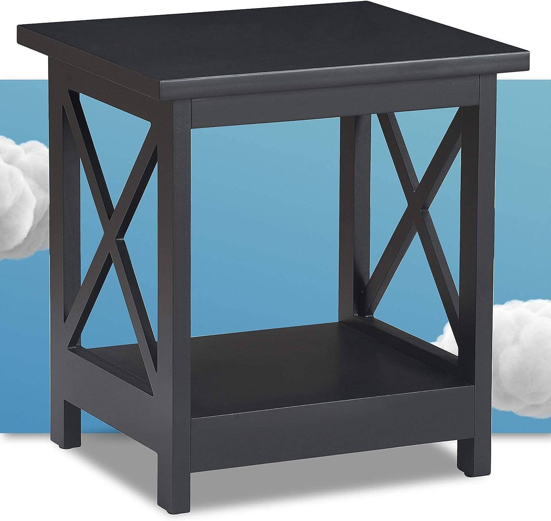 Serta Bismarck Modern Coffee Side Table with Lower Storage Shelf, Rectangle Tabletop with X-Shaped Lattice, Farmhouse Black